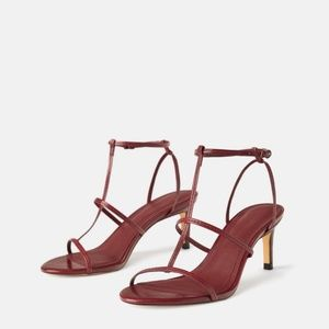 Zara Leather T Strappy Sandal Heels Burgundy